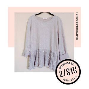 ✨2/$15✨ LC Lauren Conrad | Gray Pleated Layer Top